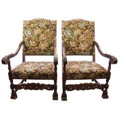 Pair of Baroque-Style Carved Walnut Armchairs, Italian, circa 1880