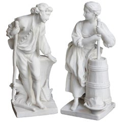 "Pair of Sèvres Biscuit Figure ""Batteur"" and ""Batteuse"", circa 1757"