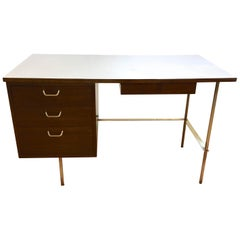 Rare Harvey Probber Brass and Mahogany Desk