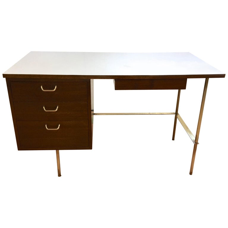 Rare Harvey Probber Brass and Mahogany Desk For Sale