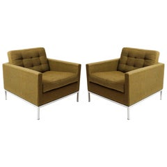 Pair of Green Florence Knoll Lounge Chairs Armchairs, Knoll International, 1954