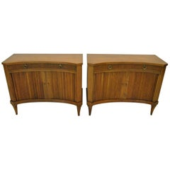 Pair of Midcentury Regency Style Curved Front Tambour Door Chests