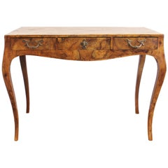 Italian Baroque Style Oyster Burl Wood Console Table