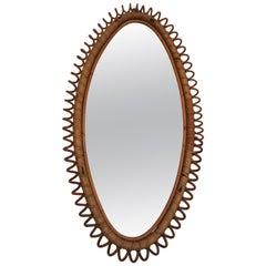 Oval Rattan Mirror by Vittorio Bonacina Italy 1960s