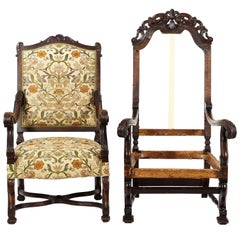 Two English Carved Armchairs, 19th Century or Early 20th Century