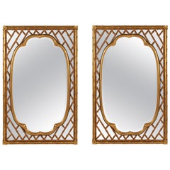 Pair of French Trellis and Bamboo Mirrors by Mirror Fair for Baker Knapp & Tubbs