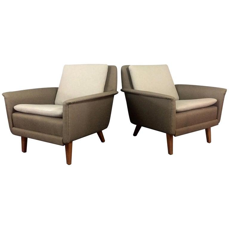 Pair of Folke Ohlsson Lounge Chairs, Denmark, 1960s