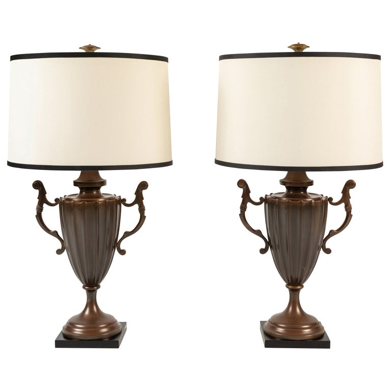 Pair of Urn Form Table Lamps by Chapman For Sale