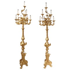 Tall Pair of Louis XV Style Giltwood Torcheres from Italy