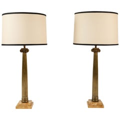 Pair of Patinated Brass Roman Column Table Lamps on Marble Bases
