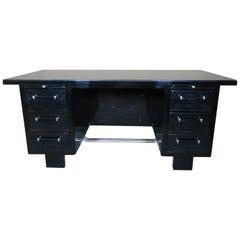 Desk Art Deco Black Lacquer