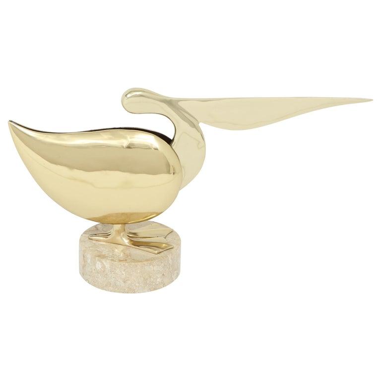 Brass Pelican Sculpture, circa 1950