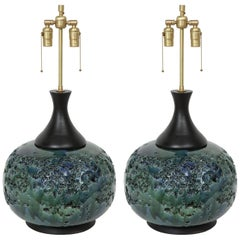 Italian Crater Glazed Orb Lamps