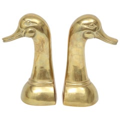 Cast Brass Mallard Duck Bookends