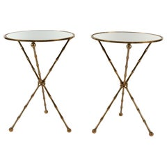 Pair of Round Mirrored-Top Side Tables with Brass Bamboo Legs