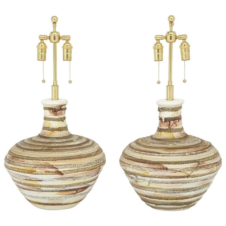Pair of Fat Lava Glazed Ceramic Lamps