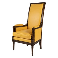 High Back Leather Armchair by Yale R. Burge