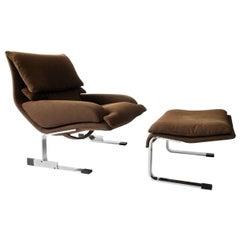 Onda Lounge Chair & Ottoman by Giovanni Offredi for Saporiti Italia, circa 1970