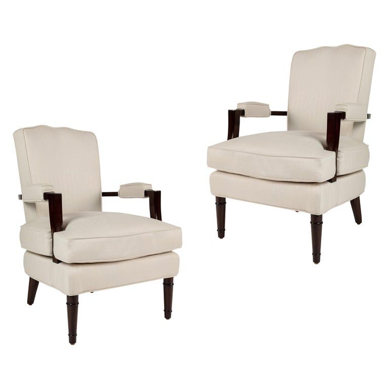 Pair of Upholstered Armchairs by Jules Leleu For Sale