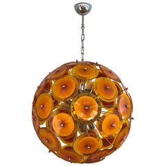 Alberto Donà Contemporary Nickel Brown Orange Yellow Murano Glass Chandelier