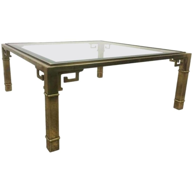 Vintage Mastercraft Brass and Glass Square Coffee Table