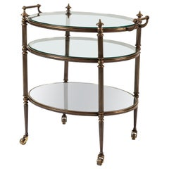 Three-Tier Brass and Glass Drinks Trolley