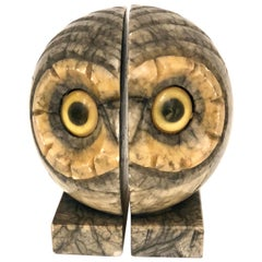 Pair of Rare Italian Alabaster Sculpture Owl Bookends Hand-Carved