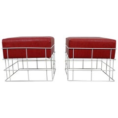 Pair of Square Wire Stools with Red Cushions, Germany, 1960s