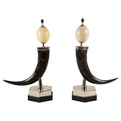 Pair of Mounted Ostrich Egg and Horn Sculptures by Anthony Redmile