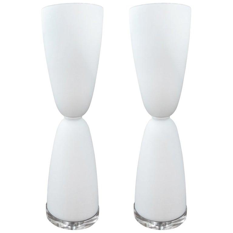 Pair of White Murano Glass Lamps Attributed to Barovier
