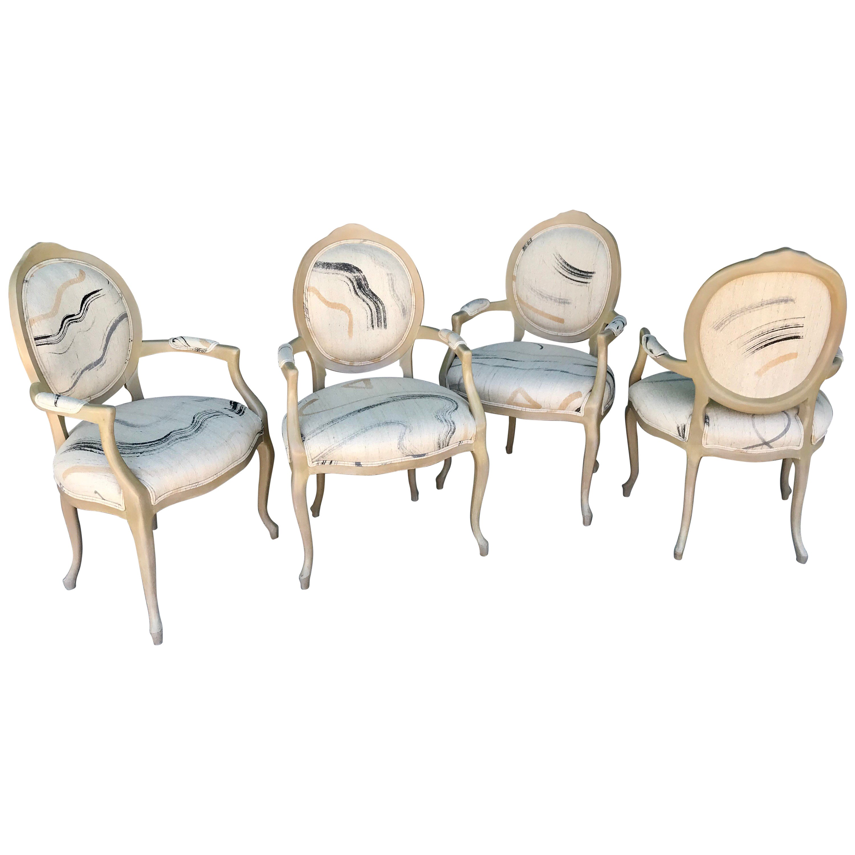 Set of four vintage modern art dining or game table chairs from steve chase for sale at 1stdibs