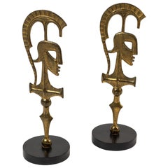 Pair of Abstract Roman Gladiator Sculptures by Frederick Weinberg