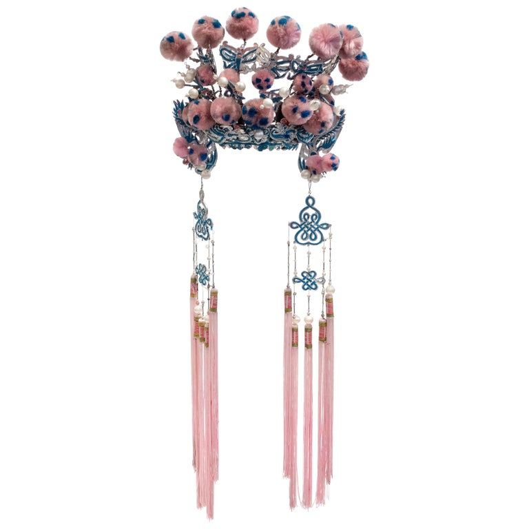 Vintage Chinese Opera Theatre Headdress, Pink/Blue Pom Poms, Early 20th Century