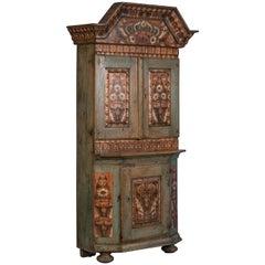 Original Antique Folk Art Painted Cabinet from Sweden