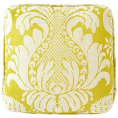 "Schumacher Alessandra Branca Anna Damask Acid Green Two-Sided 18"" Linen Pillow"