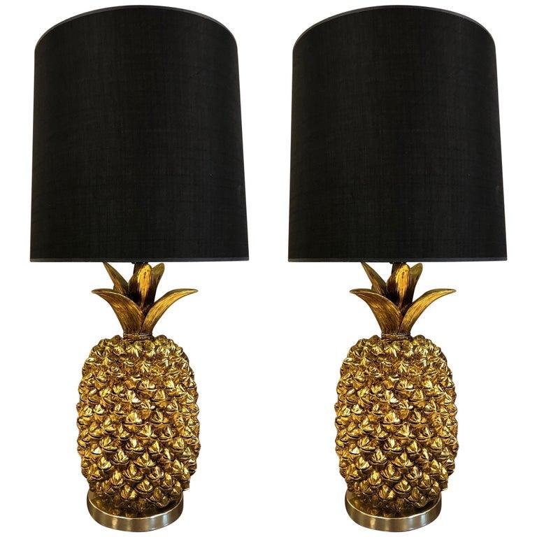 Pair of Hollywood Regency Gold Pineapple Lamps