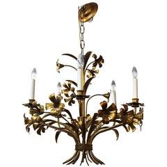 Midcentury Italian Brass Floral Chandelier