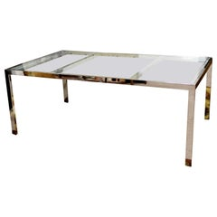Mid-Century Modern Milo Baughman Chrome and Glass Expandable Dining Table, 1970s
