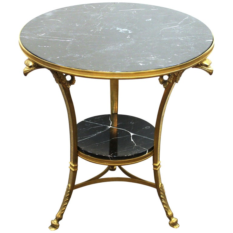 Neoclassical Gueridon Table with Marble Tops