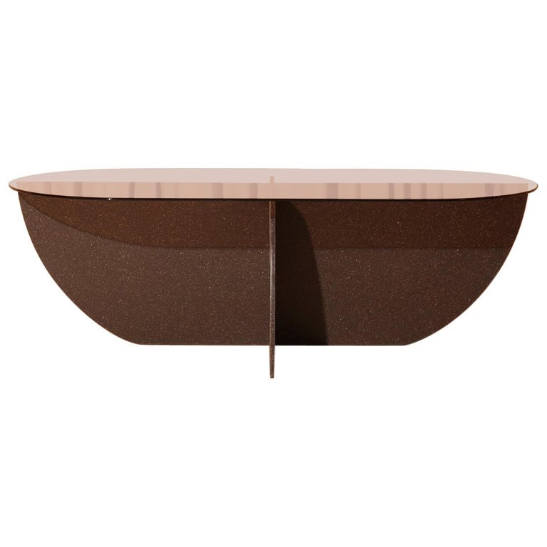 Aurora Coffee Table, Black Mosaic Base / Rose Glass