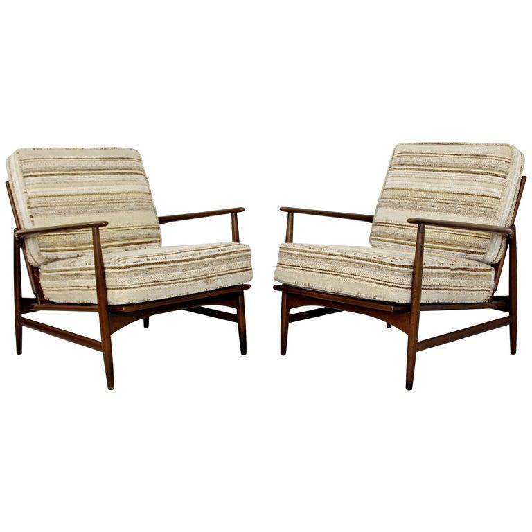 Mid-Century Modern Pair of Kofod-Larsen Selig Lounge Armchairs Denmark, 1960s