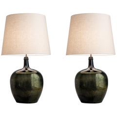 Pair of Mottled Mirrored Lamps, England, circa 1940