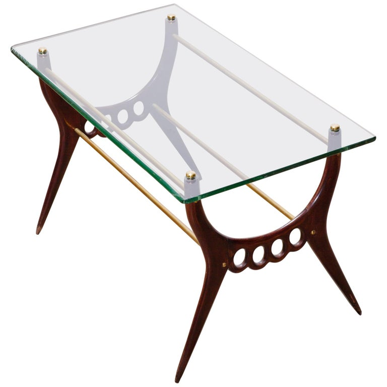 Midcentury Design Coffee Table with Glass Top, Brass Elements by Cesare Lacca
