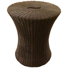Stylish Brown Wicker Hourglass Shaped Drinks End Table by Baker
