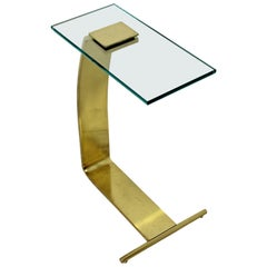 Mid-Century Modern Rare DIA Cantilever Brass and Glass Side End Table, 1970s