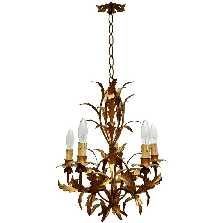 Gilt Iron Leaf Tole Chandelier