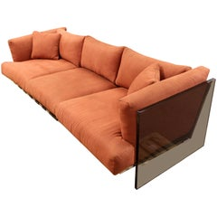 Mid-Century Modern Rare Milo Baughman Smoked Lucite and Chrome Three-Seat Sofa