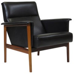 Danish Rosewood Black Leather Lounge Chair