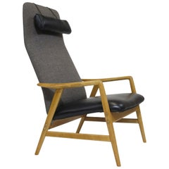 Alf Svensson for Dux Beech Lounge Chair with Black Leather Seat