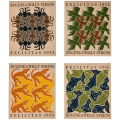 Maurits Cornelis Escher Four Elements Woodcut Rare Set of Four Cards